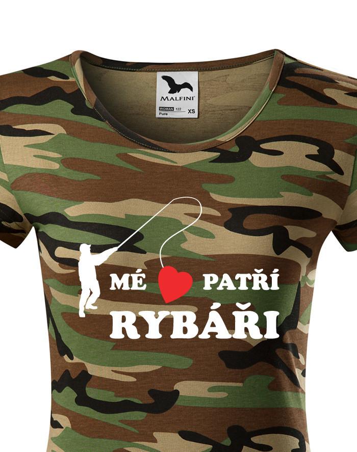 Dámské rybářské tričko Mé srdce patří rybáři