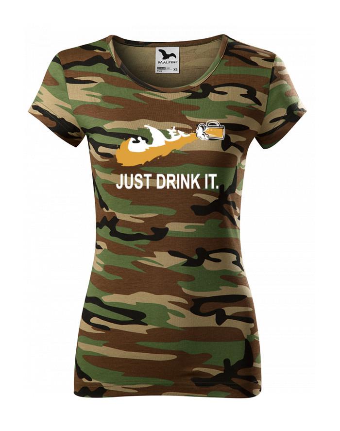 Dámské tričko s potiskem JUST DRINK IT parodující tradiční značku