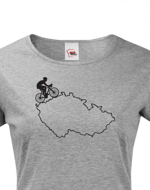 Dámské tričko pro cyklisty s mapou Čr