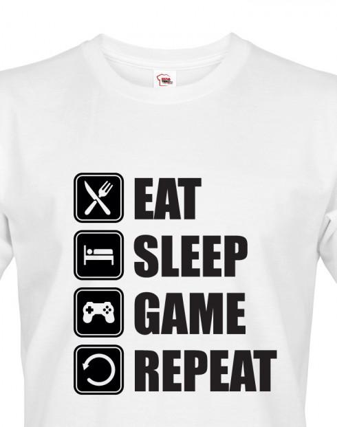 Pánské Geek/hráčské triko EAT, SLEEP, GAME, REPEAT