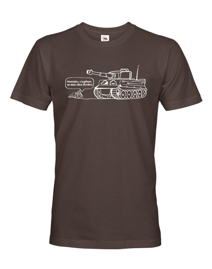 Pánské military tričko s potiskem německého těžkého tanku Tiger