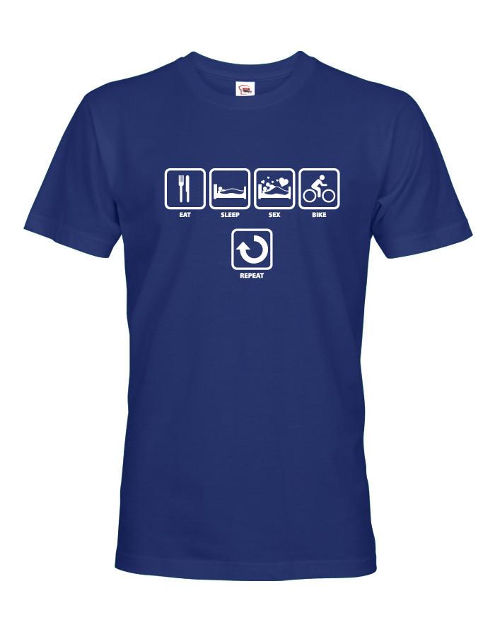 Tričko s potiskem cyklisty EAT, SLEEP, SEX, BIKE, REPEAT