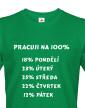 Vtipné triko s potiskem Práce na 100%