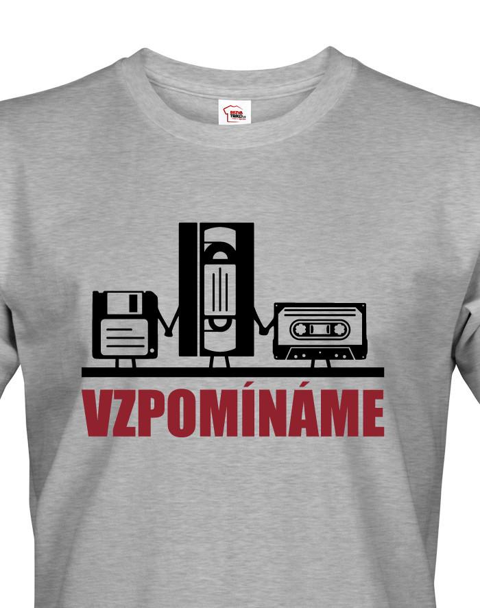 Pánské triko s retro motivem Vzpomínáme - disketa, video a audio kazeta