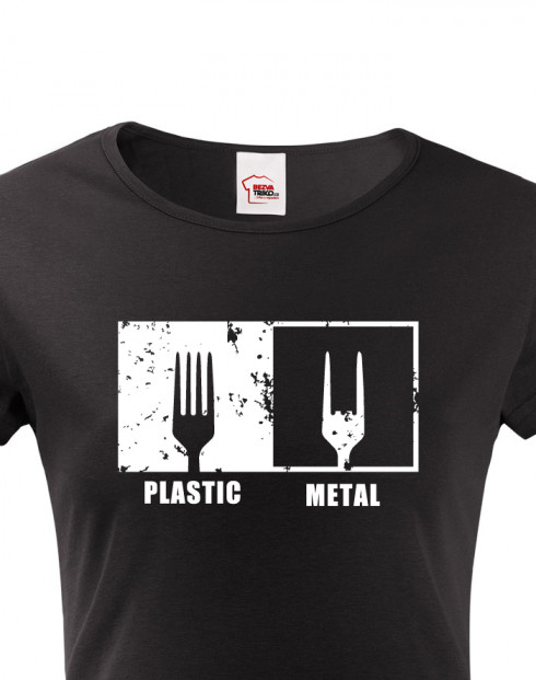 Dámské tričko Plastic vs Metal