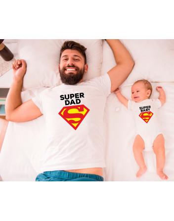 Dětské body a pánské tričko Super Dad a Baby