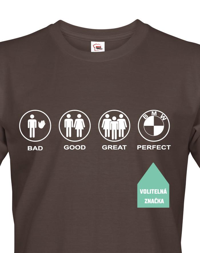 Pánské tričko se značkou auta na přání - v ukázce triko s logem BMW