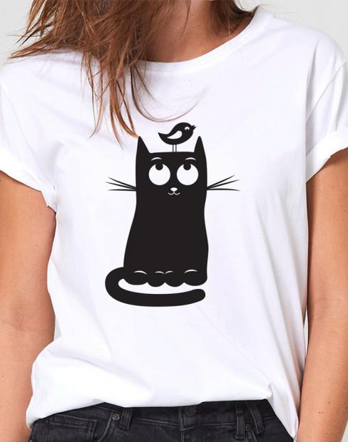 Dámské tričko s kočkou a ptáčkem