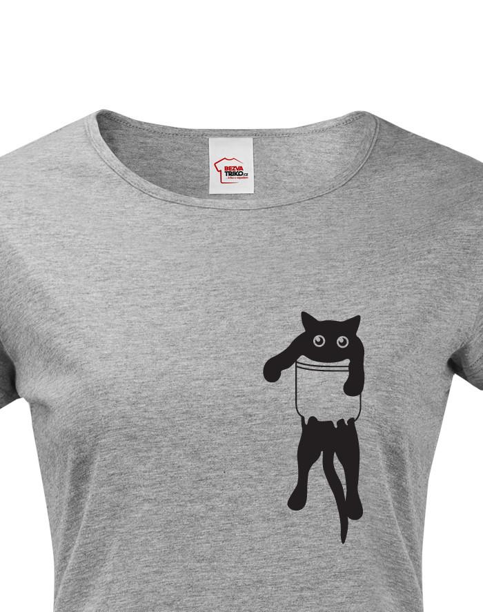 Dámské tričko s kočkou v kapse