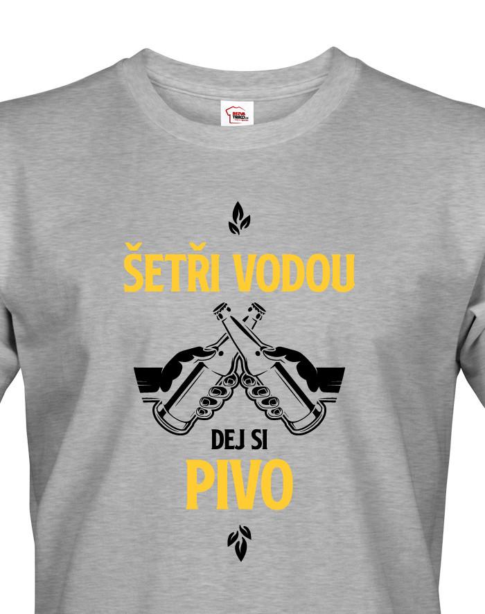 Levně Pánské tričko s potiskem Šetři vodu, dej si pivo