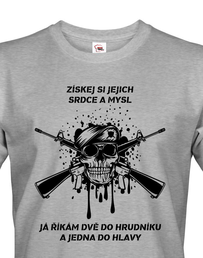Pánské army triko Dvě do hrudníku a jedna do hlavy - ideální pro military