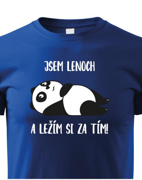 Dětské tričko Jsem lenoch a ležím si za tím!