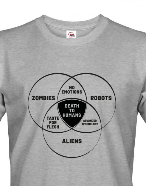 Pánské tričko Zombies, Robots, Aliens