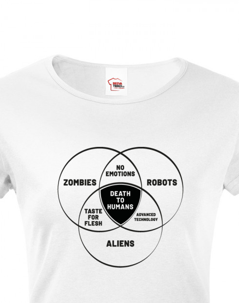 Dámské tričko Zombies, Robots, Aliens