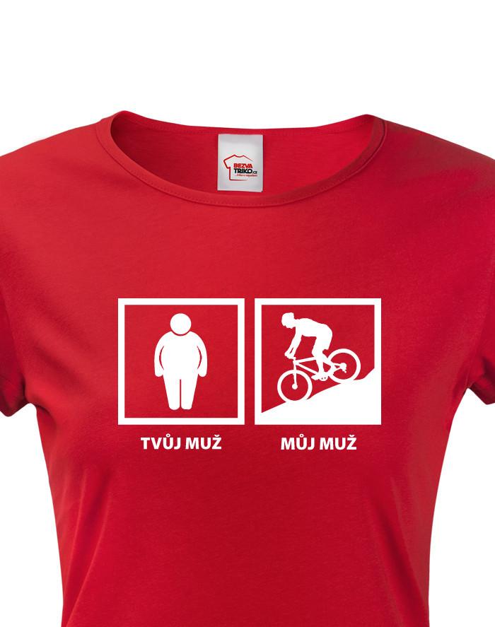 Dámské cyklo tričko Tvůj muž - můj muž
