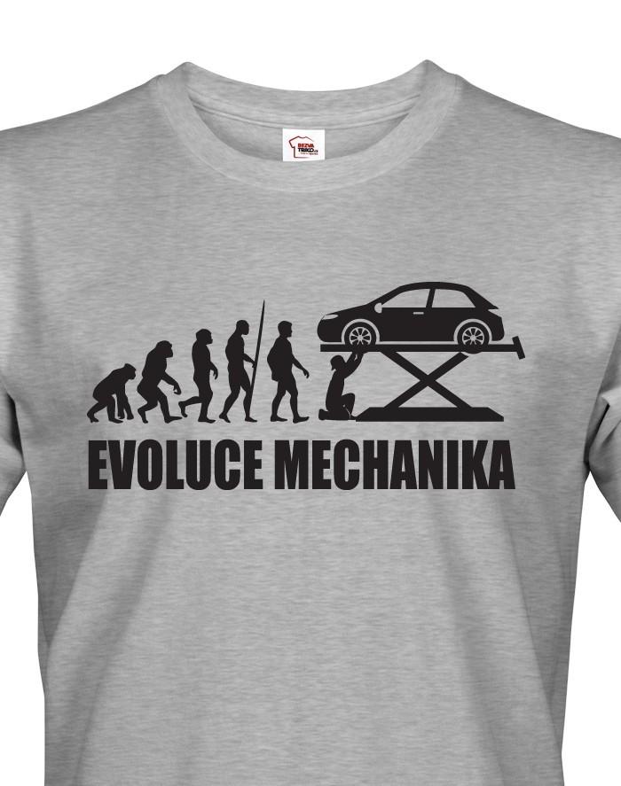 Pánské tričko Evoluce mechanika - ideální dárek k narozeninám pro mechaniky