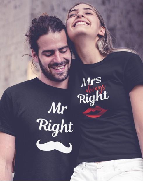 Párová trika Mr Right a Mrs Always Right
