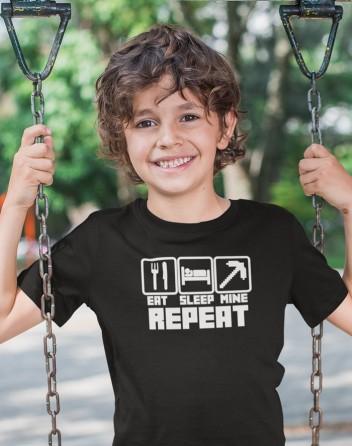 Dětské tričko Eat Sleep Mine Repeat