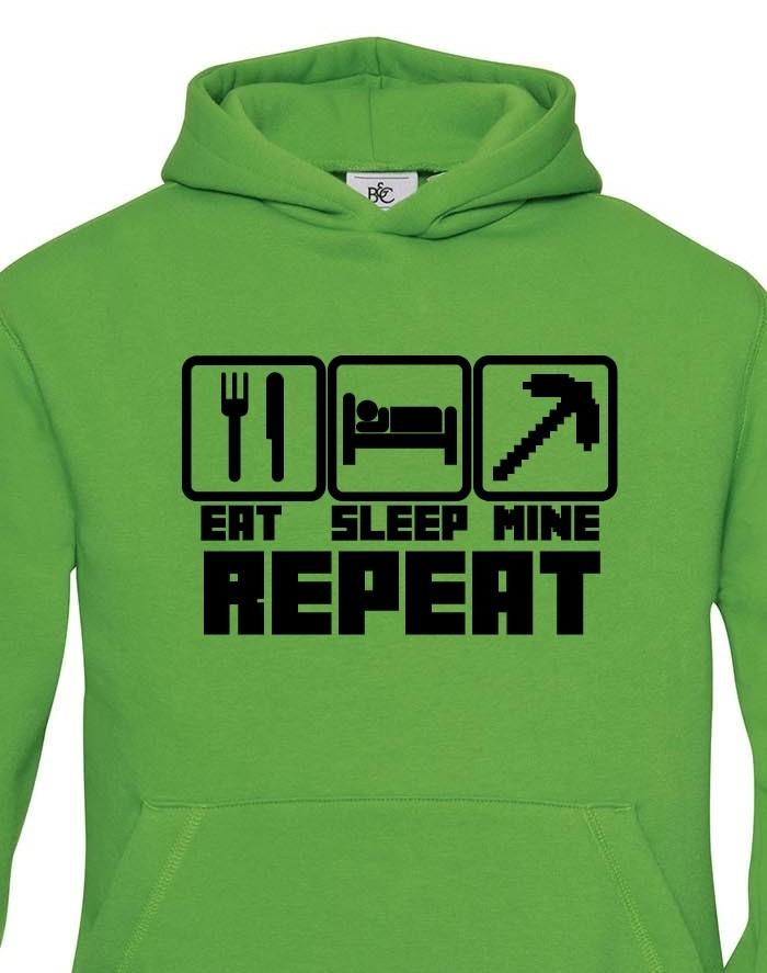 Dětská mikina Eat Sleep Mine Repeat - mikina pro hráče Minecraft