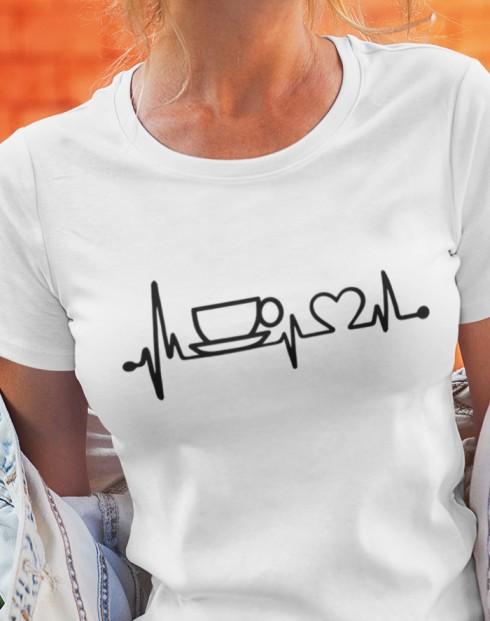 Dámské tričko Srdeční tep káva