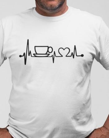Pánské tričko Srdeční tep káva