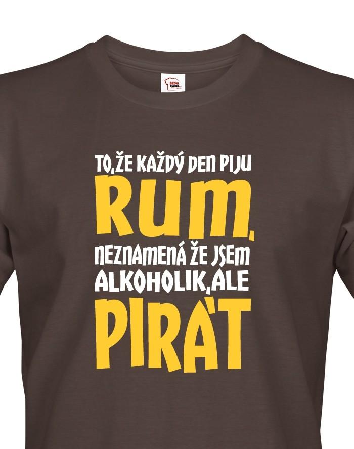 Levně Pánské tričko s potiskem Jsem pirát piju rum - ideální vodácké triko