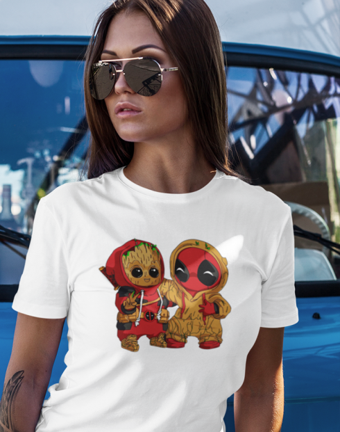 Dámské tričko Deadpool a Groot