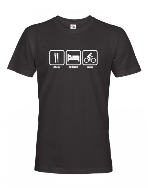 Pánské tričko pro cyklisty Jídlo-spánek-kolo
