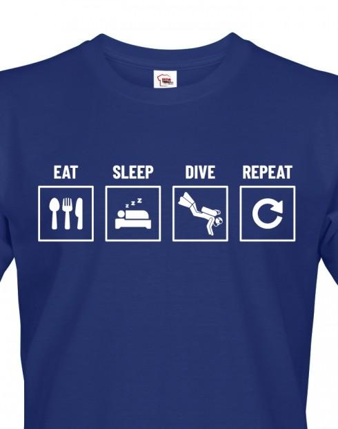 Pánské tričko Eat-sleep-dive-repeat