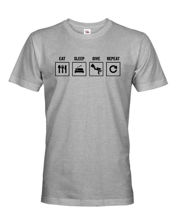 Pánské tričko Eat-sleep-dive-repeat - ideální dárek