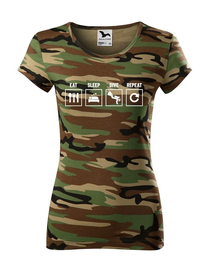 Dámské tričko Eat-sleep-dive-repeat - ideální dárek