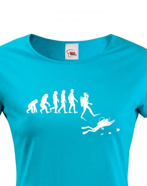 Dámské tričko - Evoluce potápění