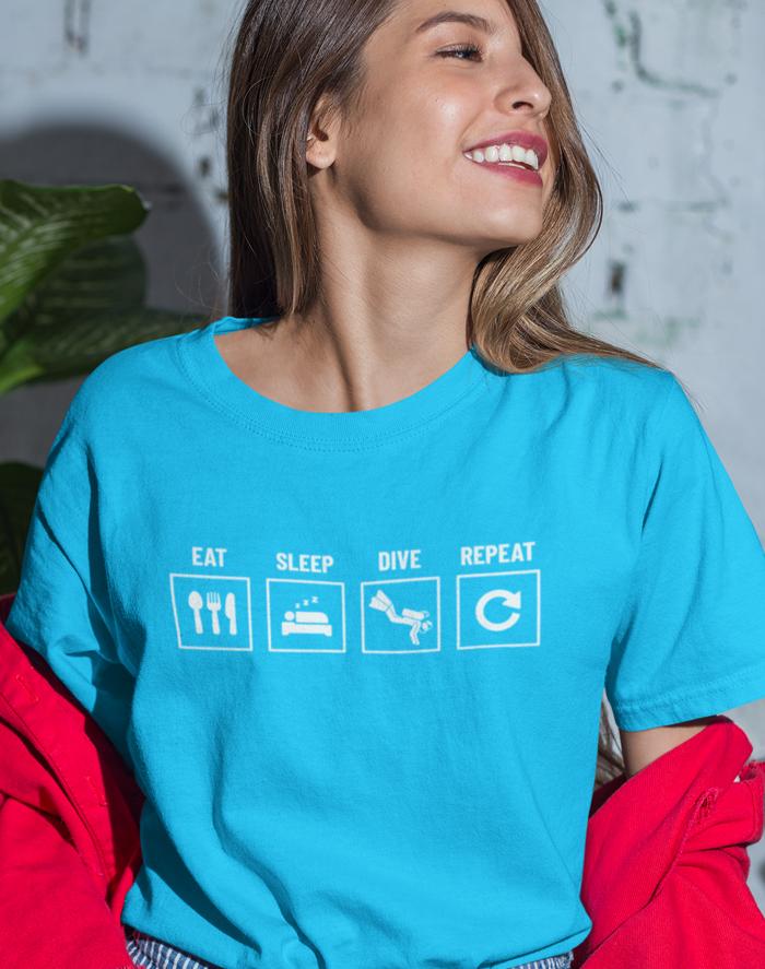 Dámské tričko Eat-sleep-dive-repeat