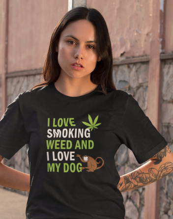 Dámské tričko - I love smoking weed and I love my dog