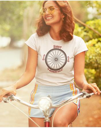 Dámské tričko pro cyklisty Život v jednom kole