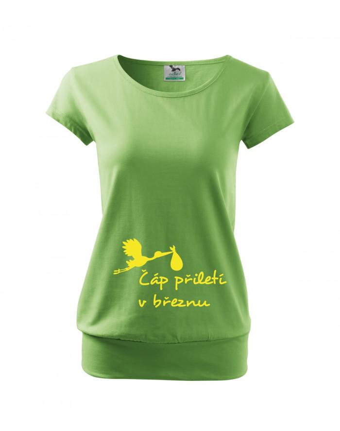 Těhotenské tričko s potiskem Čáp přiletí...