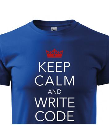 Pánské tričko pro programátory Keep calm and write code