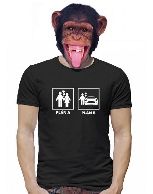 Pánske tričko s potlačou Plán A a plán B