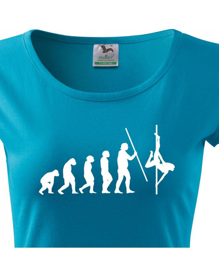 Dámské tričko s vtipným potiskem evoluce Pole dance