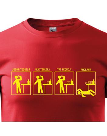Pánské tričko s potiskem Jedna tequila, dvě, tři... podlaha