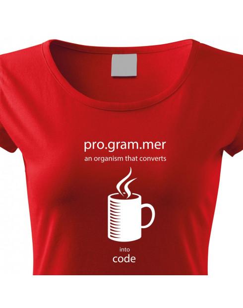 Dámské tričko pro programátorky Convert coffee in to code